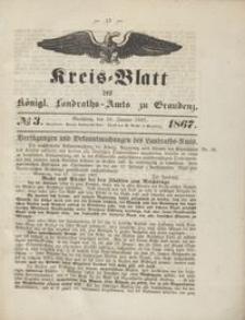 Kreis Blatt des Königlichen Landraths-Amts zu Graudenz 1867.01.18 nr 3