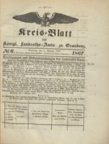Kreis Blatt des Königlichen Landraths-Amts zu Graudenz 1867.02.08 nr 6
