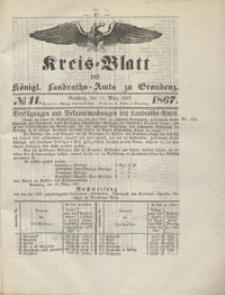 Kreis Blatt des Königlichen Landraths-Amts zu Graudenz 1867.03.15 nr 11