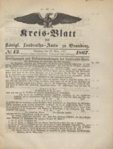 Kreis Blatt des Königlichen Landraths-Amts zu Graudenz 1867.03.29 nr 13
