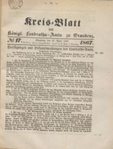 Kreis Blatt des Königlichen Landraths-Amts zu Graudenz 1867.04.26 nr 17