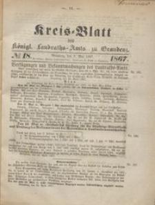Kreis Blatt des Königlichen Landraths-Amts zu Graudenz 1867.05.03 nr 18