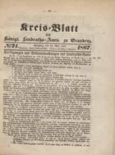 Kreis Blatt des Königlichen Landraths-Amts zu Graudenz 1867.05.24 nr 21