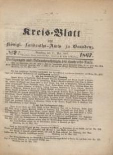 Kreis Blatt des Königlichen Landraths-Amts zu Graudenz 1867.05.31 nr 22