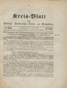 Kreis Blatt des Königlichen Landraths-Amts zu Graudenz 1867.06.07 nr 23
