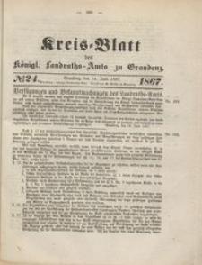 Kreis Blatt des Königlichen Landraths-Amts zu Graudenz 1867.06.14 nr 24
