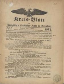 Kreis Blatt des Königlichen Landraths-Amts zu Graudenz 1872.01.05 nr 1