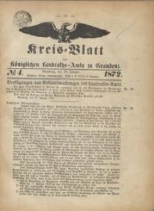 Kreis Blatt des Königlichen Landraths-Amts zu Graudenz 1872.01.26 nr 1