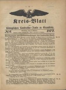 Kreis Blatt des Königlichen Landraths-Amts zu Graudenz 1872.2.09 nr 6