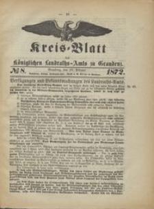 Kreis Blatt des Königlichen Landraths-Amts zu Graudenz 1872.02.23 nr 8