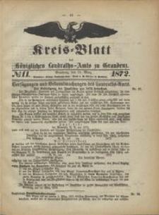 Kreis Blatt des Königlichen Landraths-Amts zu Graudenz 1872.03.15 nr 11
