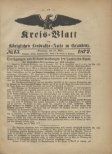 Kreis Blatt des Königlichen Landraths-Amts zu Graudenz 1872.03.29 nr 13