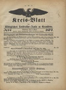 Kreis Blatt des Königlichen Landraths-Amts zu Graudenz 1872.04.05 nr 14