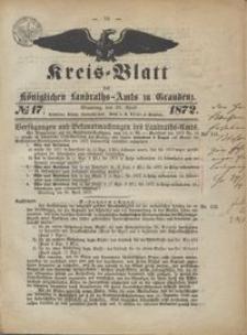 Kreis Blatt des Königlichen Landraths-Amts zu Graudenz 1872.04.26 nr 17