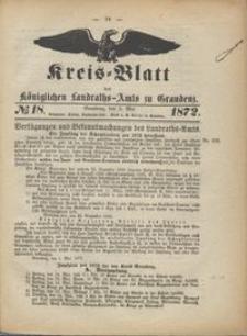 Kreis Blatt des Königlichen Landraths-Amts zu Graudenz 1872.05.03 nr 18