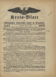Kreis Blatt des Königlichen Landraths-Amts zu Graudenz 1872.05.24 nr 21