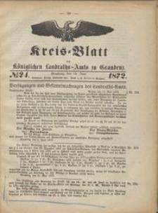 Kreis Blatt des Königlichen Landraths-Amts zu Graudenz 1872.06.14 nr 24
