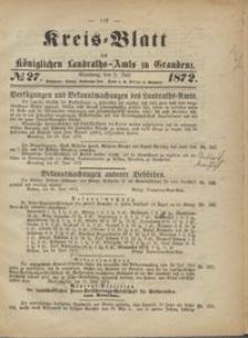 Kreis Blatt des Königlichen Landraths-Amts zu Graudenz 1872.07.05 nr 27