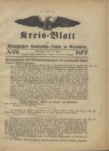 Kreis Blatt des Königlichen Landraths-Amts zu Graudenz 1872.07.19 nr 29