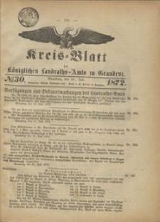 Kreis Blatt des Königlichen Landraths-Amts zu Graudenz 1872.07.26 nr 30