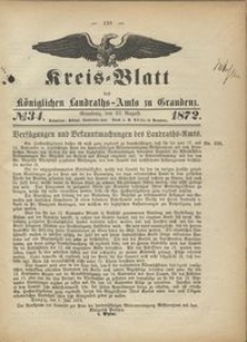 Kreis Blatt des Königlichen Landraths-Amts zu Graudenz 1872.08.23 nr 34