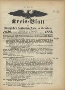 Kreis Blatt des Königlichen Landraths-Amts zu Graudenz 1872.09.06 nr 36