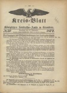 Kreis Blatt des Königlichen Landraths-Amts zu Graudenz 1872.09.13 nr 37
