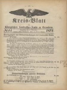 Kreis Blatt des Königlichen Landraths-Amts zu Graudenz 1872.11.01 nr 44