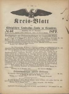 Kreis Blatt des Königlichen Landraths-Amts zu Graudenz 1872.11.15 nr 46