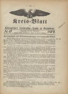 Kreis Blatt des Königlichen Landraths-Amts zu Graudenz 1872.11.22 nr 47