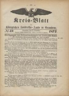 Kreis Blatt des Königlichen Landraths-Amts zu Graudenz 1872.12.06 nr 49