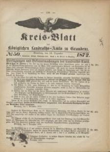 Kreis Blatt des Königlichen Landraths-Amts zu Graudenz 1872.12.13 nr 50