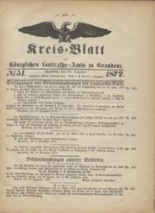 Kreis Blatt des Königlichen Landraths-Amts zu Graudenz 1872.12.20 nr 51