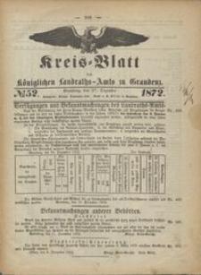 Kreis Blatt des Königlichen Landraths-Amts zu Graudenz 1872.12.27 nr 52