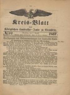 Kreis Blatt des Königlichen Landraths-Amts zu Graudenz 1867.08.09 nr 32