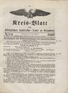 Kreis Blatt des Königlichen Landraths-Amts zu Graudenz 1867.08.23 nr 34