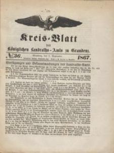 Kreis Blatt des Königlichen Landraths-Amts zu Graudenz 1867.09.06 nr 36