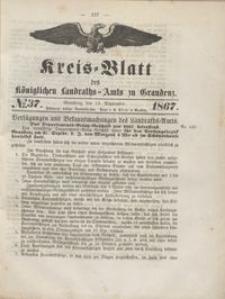Kreis Blatt des Königlichen Landraths-Amts zu Graudenz 1867.09.13 nr 37