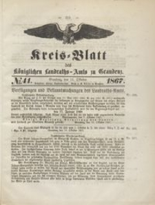 Kreis Blatt des Königlichen Landraths-Amts zu Graudenz 1867.10.11 nr 41