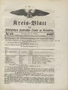 Kreis Blatt des Königlichen Landraths-Amts zu Graudenz 1867.10.18 nr 42