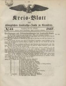 Kreis Blatt des Königlichen Landraths-Amts zu Graudenz 1867.10.25 nr 43