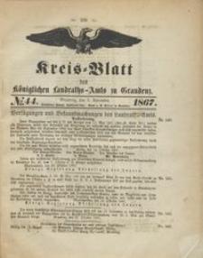 Kreis Blatt des Königlichen Landraths-Amts zu Graudenz 1867.11.01 nr 44