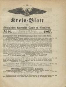 Kreis Blatt des Königlichen Landraths-Amts zu Graudenz 1867.11.15 nr 46