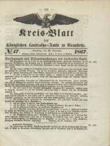 Kreis Blatt des Königlichen Landraths-Amts zu Graudenz 1867.11.22 nr 47
