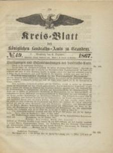 Kreis Blatt des Königlichen Landraths-Amts zu Graudenz 1867.12.06 nr 49