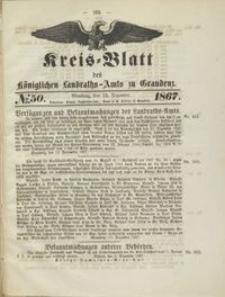 Kreis Blatt des Königlichen Landraths-Amts zu Graudenz 1867.12.13 nr 50
