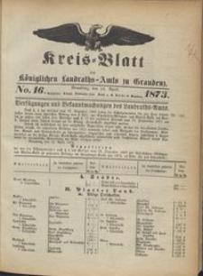 Kreis Blatt des Königlichen Landraths-Amts zu Graudenz 1873.04.18 nr 16