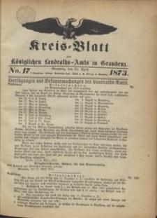 Kreis Blatt des Königlichen Landraths-Amts zu Graudenz 1873.04.25 nr 17