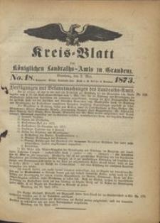 Kreis Blatt des Königlichen Landraths-Amts zu Graudenz 1873.05.02 nr 18