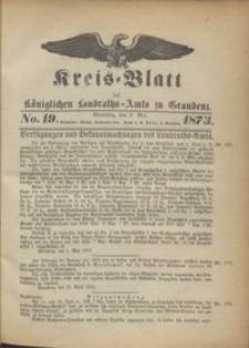 Kreis Blatt des Königlichen Landraths-Amts zu Graudenz 1873.05.09 nr 19